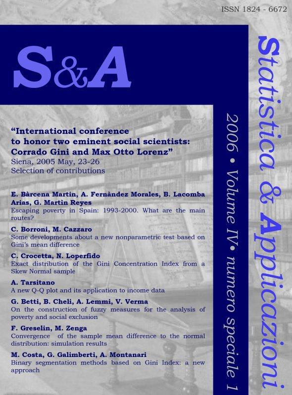 STATISTICA & APPLICAZIONI - 2006 - Special issue 1